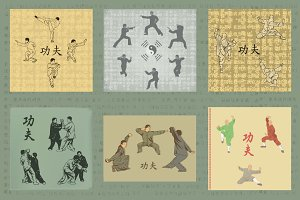 Set of images,  Kung Fu