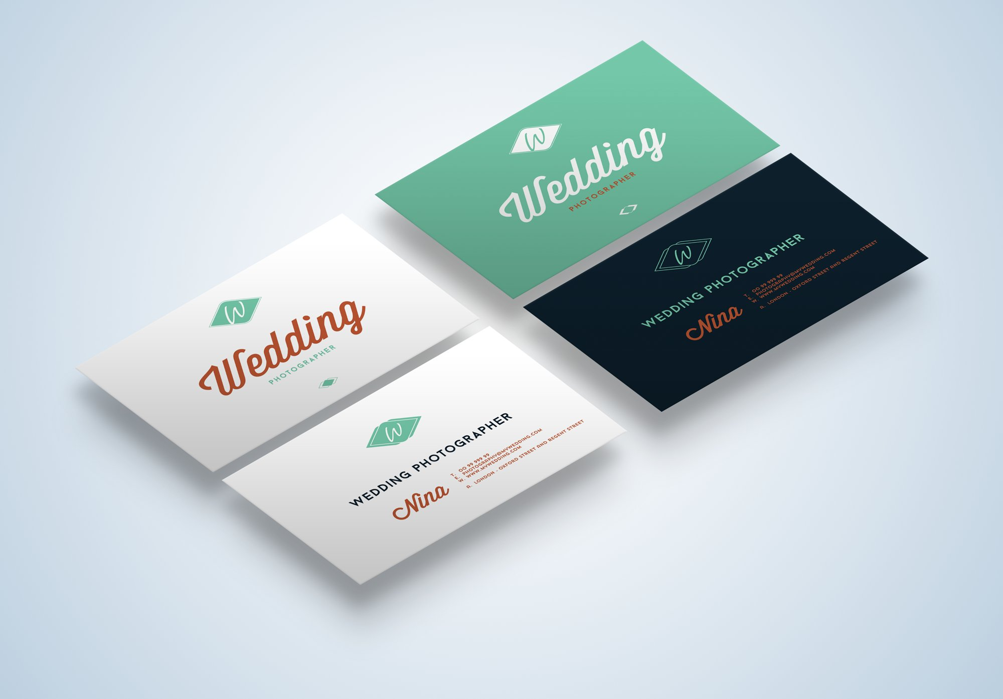 Wedding Business Cards Mock-Up ~ Business Card Templates ~ Creative ...