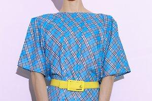 Chekered Print Fashion Vintage Lady