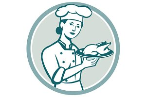 Female Chef Serving Chicken Roast