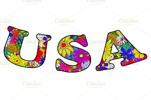 Letters USA made of flowers