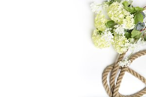 Spring background with jute rope