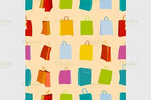 Shopping bags seamless background