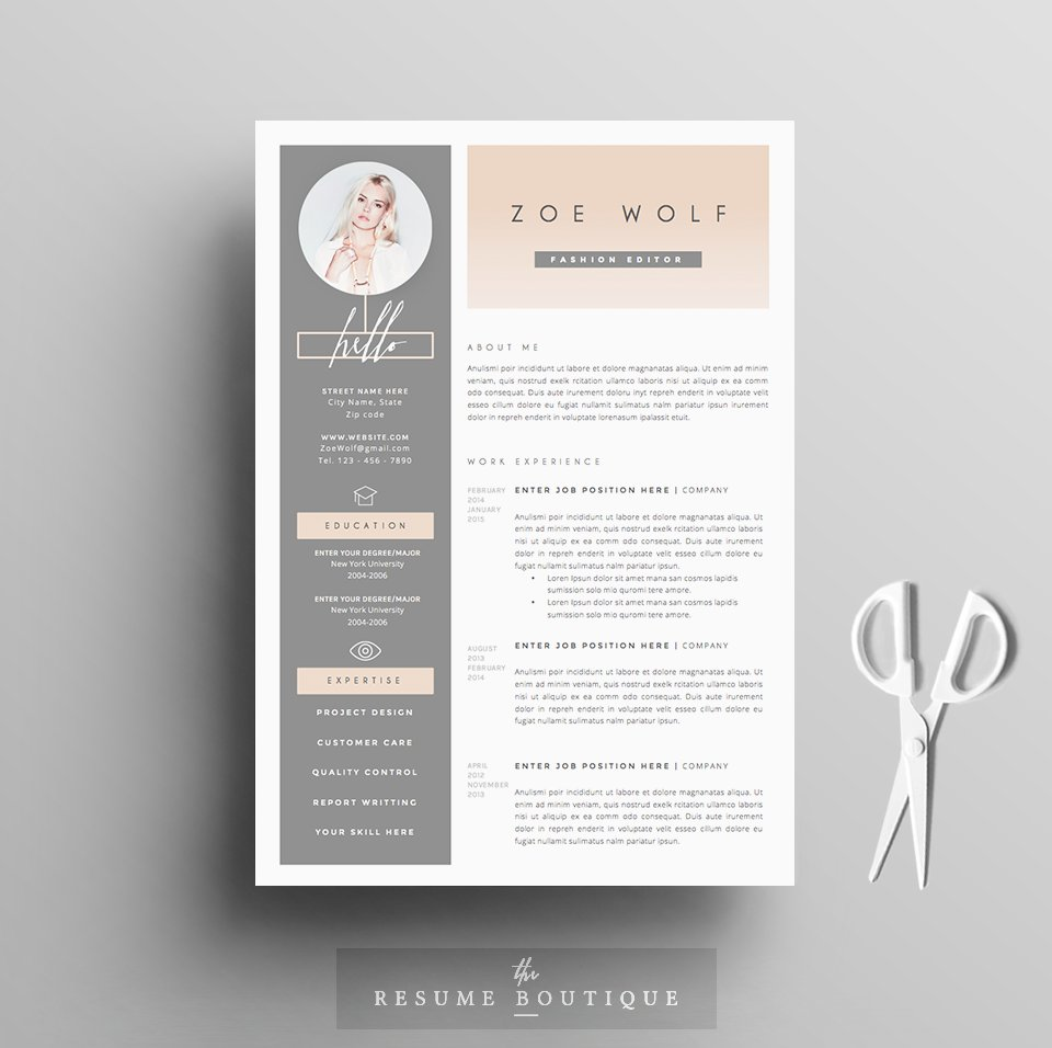 resume template 5pages dolce vita resume templates creative market - Unique Resume Templates