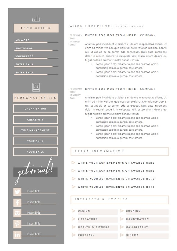 resume template 5pages dolce vita resume templates creative market
