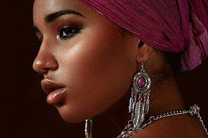 Ethnic beauty. Negro girl.