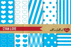 Cyan Blue Backgrounds Love Patterns