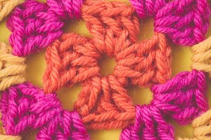 Yellow, Pink, Orange Crochet