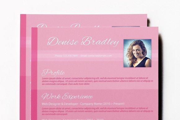 Pinky: Eye Catching CV ~ Resume Templates on Creative Market