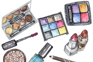 Set of watercolor cosmetics