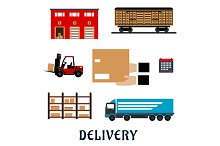 Delivery ans shipping flat icons