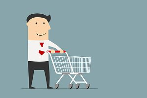 Businessman with empty shopping cart