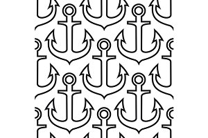 Retro ship anchors seamless pattern