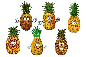 Juicy pineapple fruits