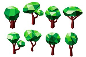 3D polygonal tree icons