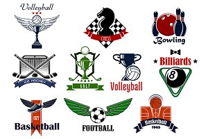 Sport game icons and symbols set