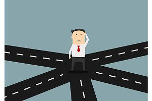 Businessman on crossroad