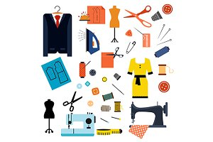 Sewing and tailoring flat icons