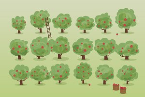 Apple Orchard Illustration Set