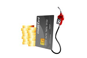 Credit card with red gasoline pump
