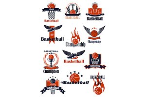 Basketball game and club icons