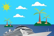cruise, ship, boat, vector