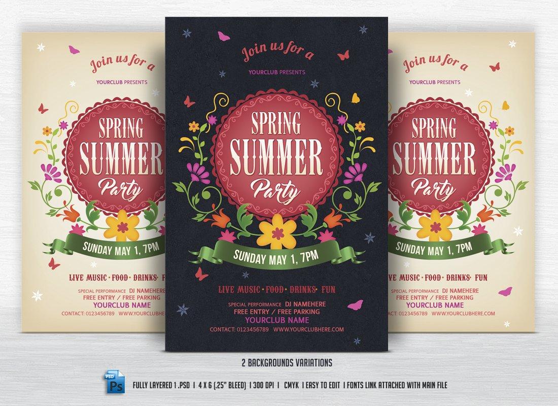 spring summer party flyer flyer templates creative market