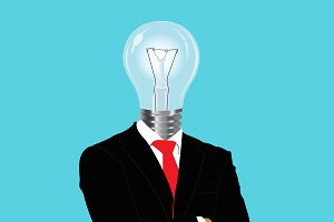 bright ideas, businessman, vector