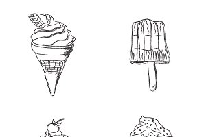 ice cream, set, sketch style
