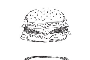 hanburger, hot dog, sketch