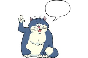 Cartoon cat said speech bubbles