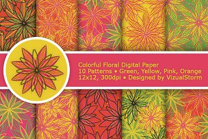Colorful Flower Digital Paper