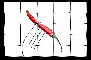 red chili pepper on a fork