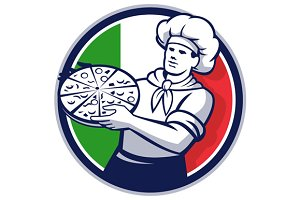 Pizza Chef Holding Pizza Italy Flag