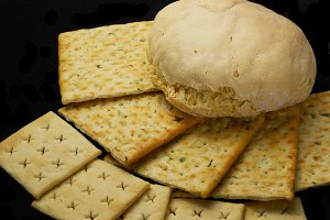 fresh bread and crackers