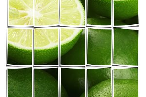 bounch of vivid green fresh lime
