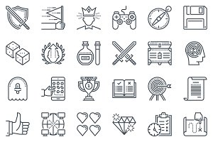 36 Game design icons, icon set