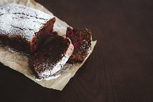 Chocolate cake on baking paper