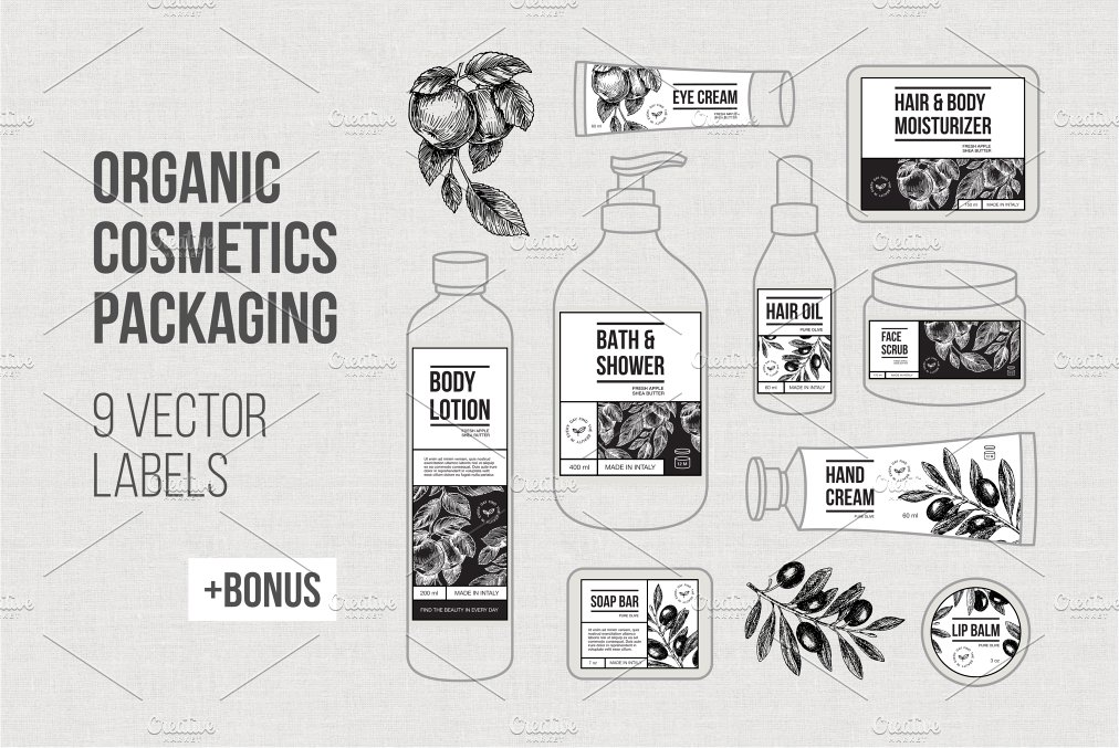 ORGANIC cosmetics Packaging ~ Graphic Objects ~ Creative