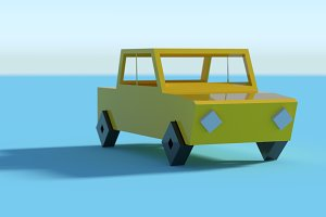 3d yellow car