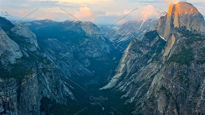Night Falls On Yosemite Nature Photos Creative Market