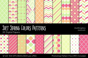Soft Spring Colors Digital Papers