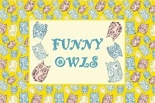 Funny owls with ink splashes