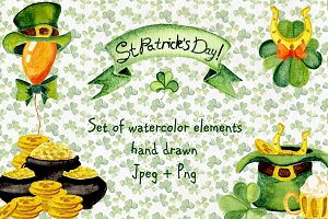 St Patrick`s Day watercolor elements