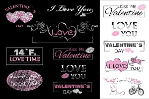 Valentine`s Day labels and badges
