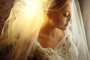 Stylish blonde bride
