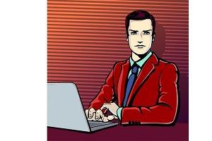 Businessman with computer in pop art