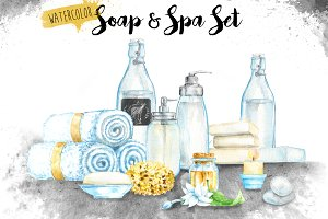 Watercolor Soap & Spa Set