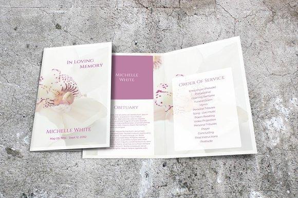 Orchid Funeral Program Template ~ Brochure Templates ~ Creative Market
