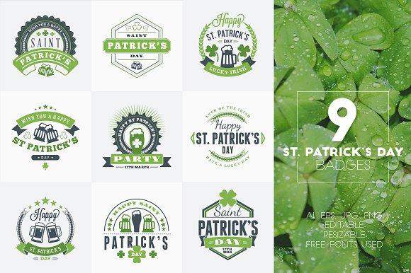 Set of St. Patrick's Badges - Logos